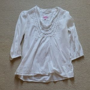 Lilly Pulitzer white ruffled collar blouse M